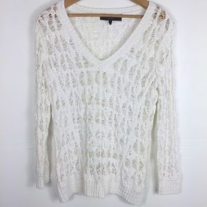 Rag and Bone White Open Knit Pullover Sweater